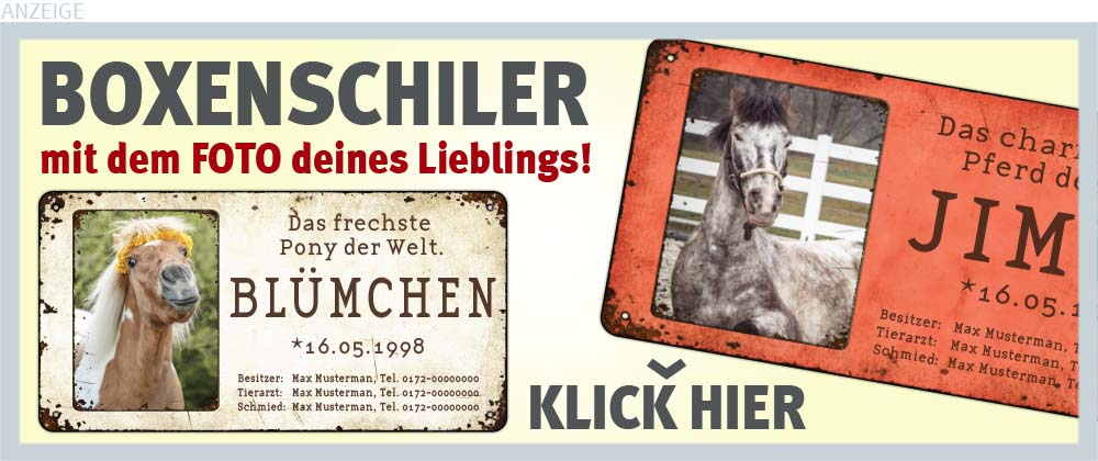 Boxenschilder und Stalltafeln mit Foto vom Pferd