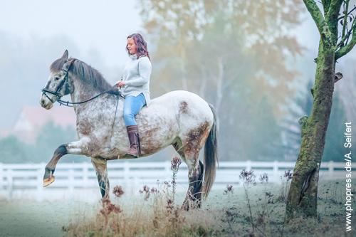 Die junge Reiterin arbeitet abseits des Reitplatzes im Winter am Spanischen Schritt.