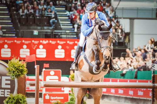 Ailina mit Christian Ahlmann, Sieg im Stechen mit 34.19 sec. - Championat von Leipzig am 20.01.2018 auf der Partner Pferd