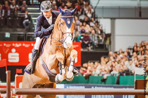 Alcazar Sitte mit Denis Lynch, Platz 3 im Stechen mit 35.96 sec. - Championat von Leipzig am 20.01.2018 auf der Partner Pferd