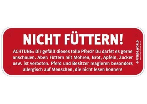 Hinweisschild Füttern verboten