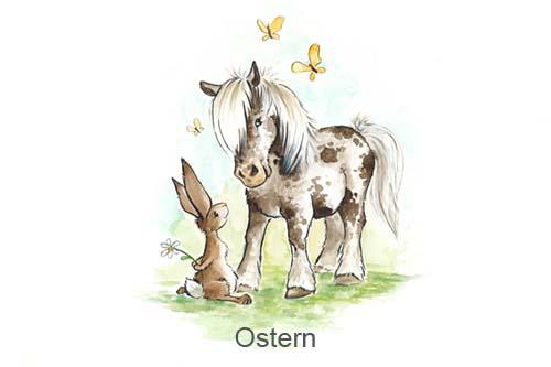 Produkte für Ostern, Ostermotiv, Osterei mit Pferd, Osterei mit Pony